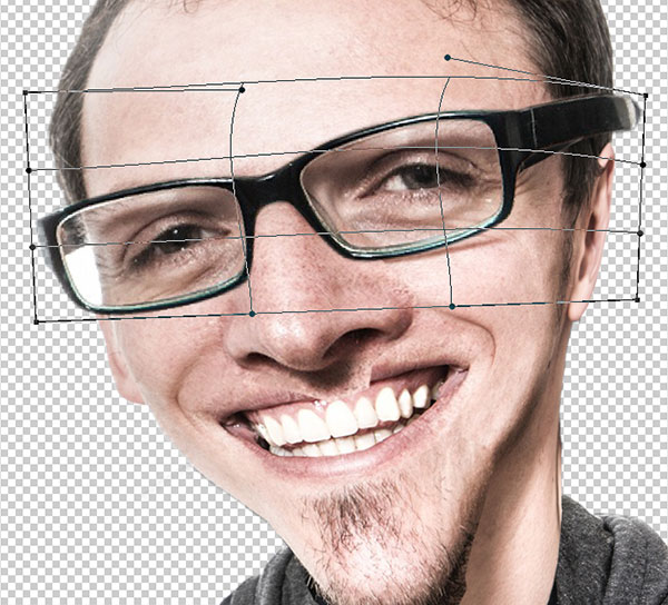 Size up the glasses and use warp to fit them to the face