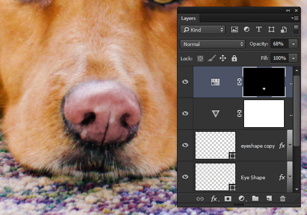 Paint the effect onto the dogs nose