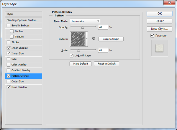 Pattern Overlay settings