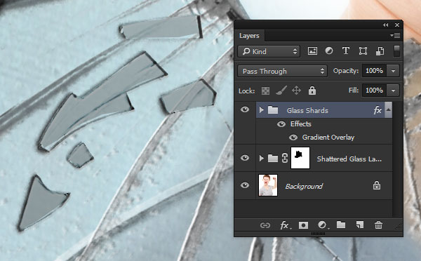 Layer styles on the glass shards group