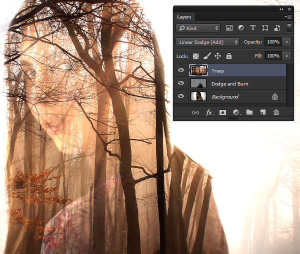 Use Linear Dodge on the forest image layer
