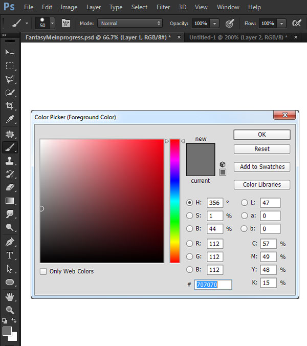 Choose your color and the Brush tool