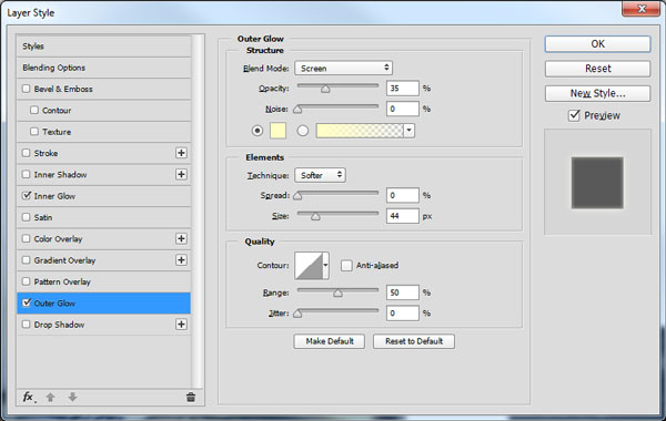 Outer Glow layer style settings