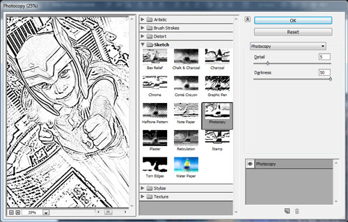 Add the Photocopy filter to the top merged layer