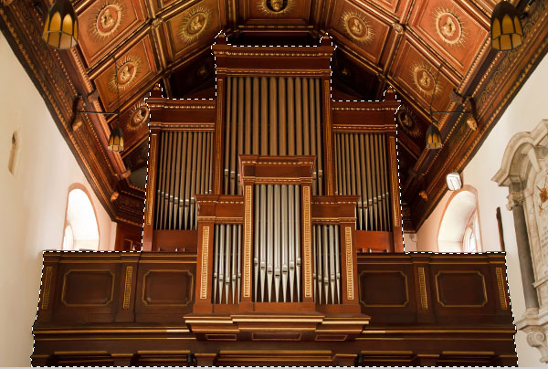 Open the pipe organ image and select the main structure