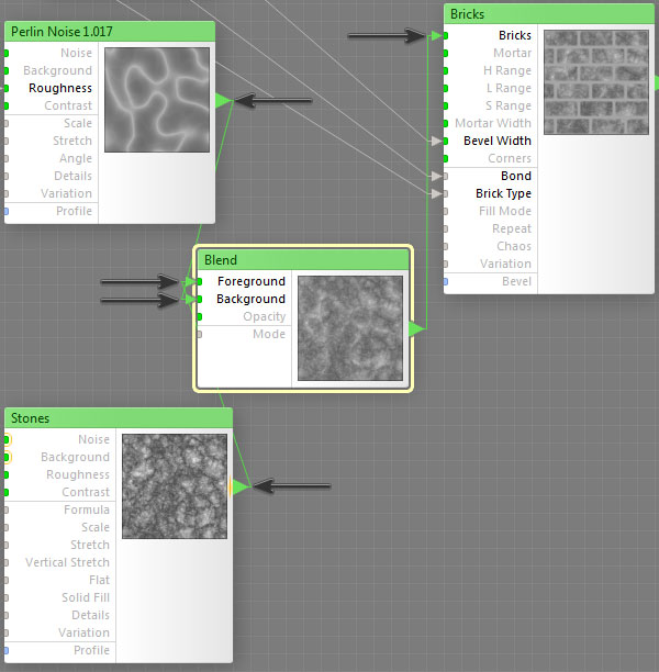 Map the Perlin Noise and Stones to Blend node to connect to the Bricks node