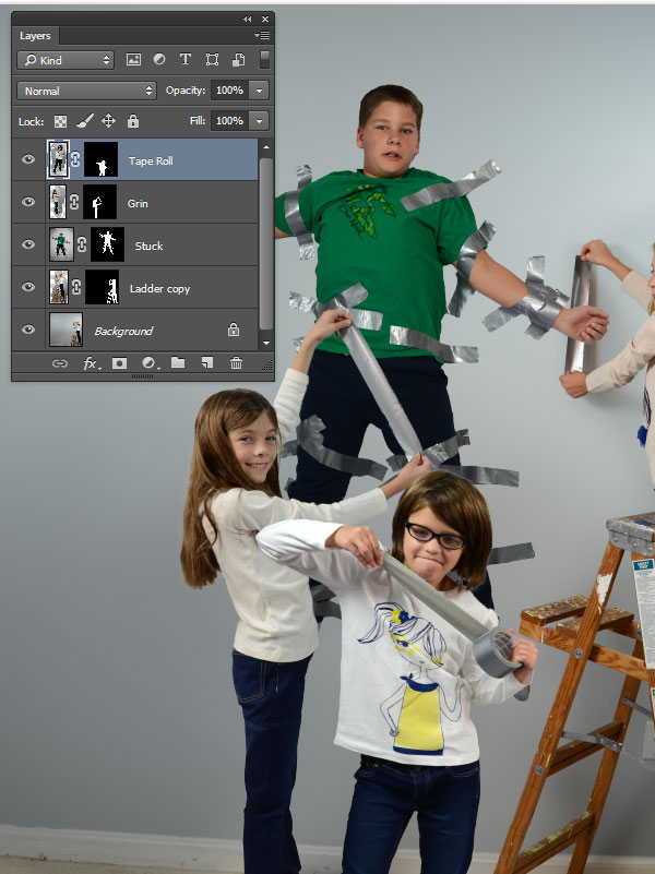 Paste the other photos in as layers and create layer masks for them too