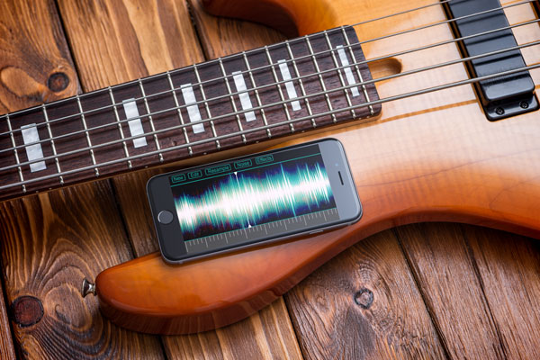 iphone mock-up on a guitar