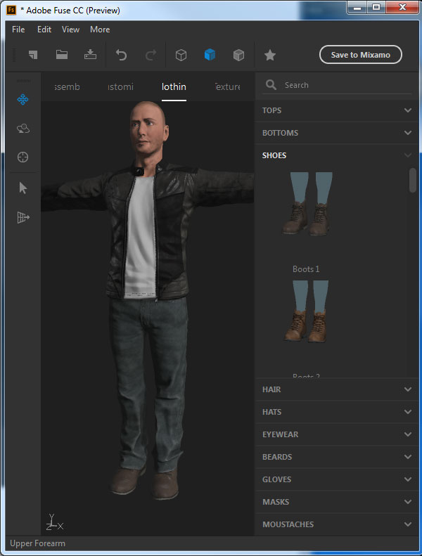Add the Boots 1 preset for his shoes