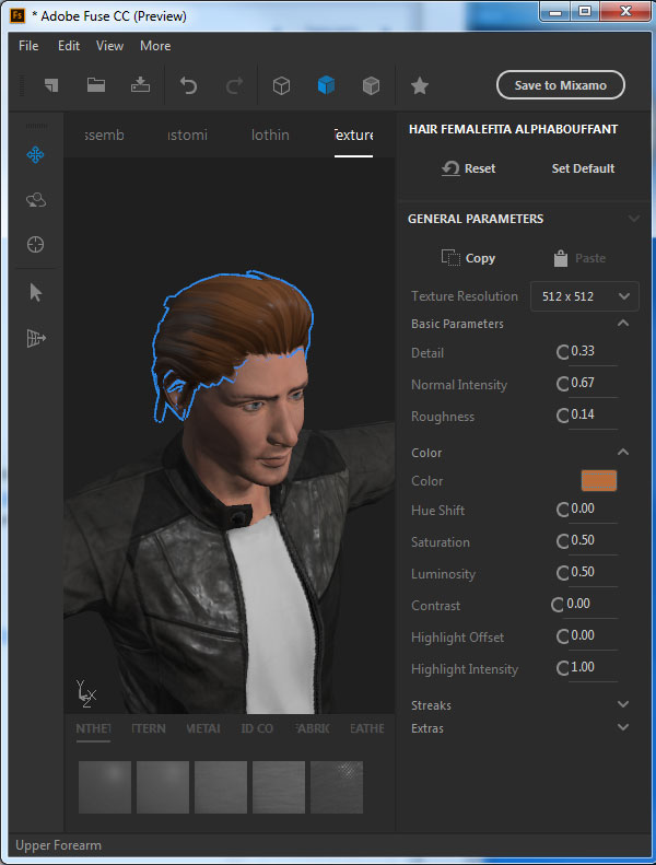 Select the hair to see the parameters for it