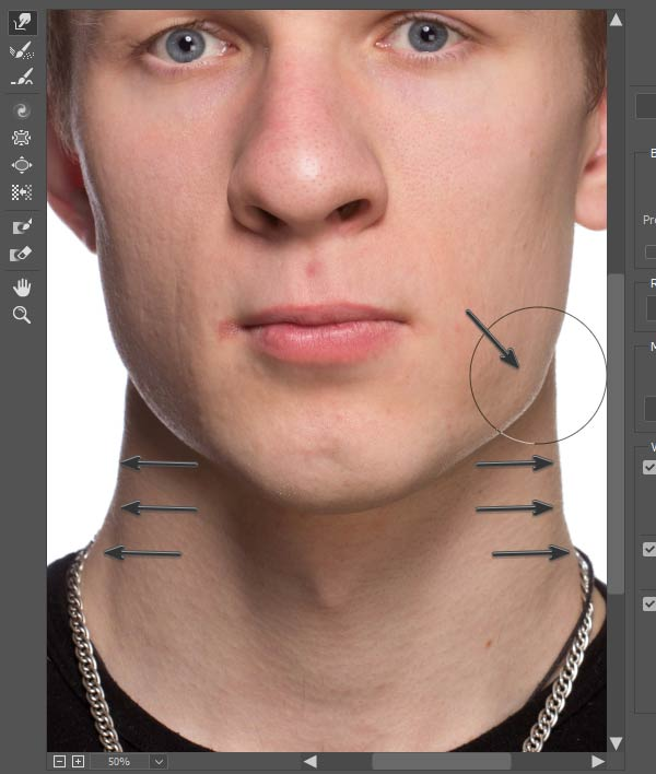 Adjust the jaw and neck lines