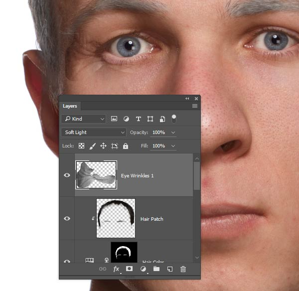 Desaturate the wrinkle layer