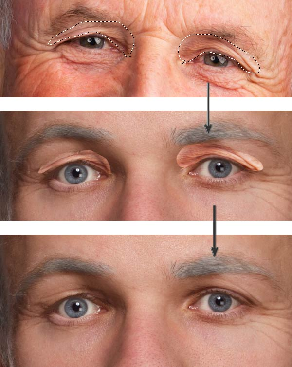 Add wrinkles to the eye lids
