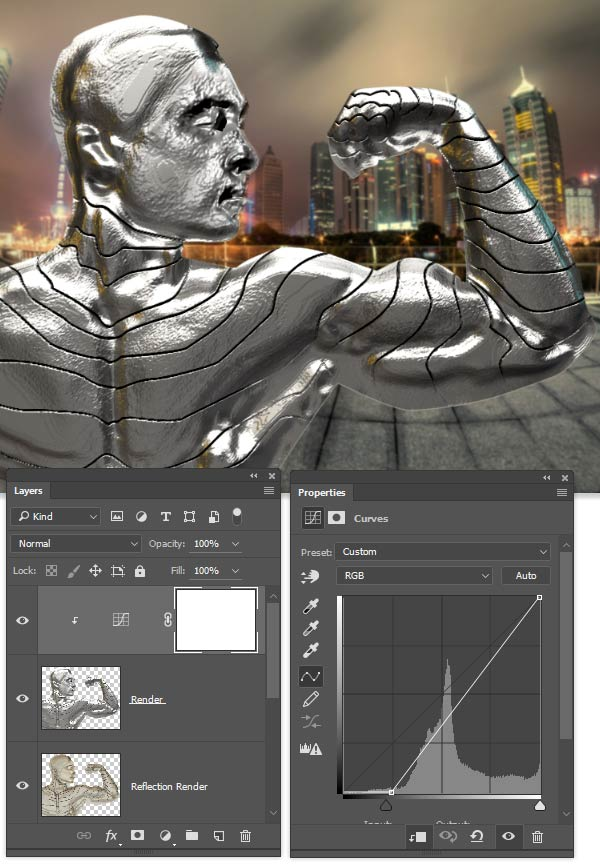 Use curves to darken the render layer