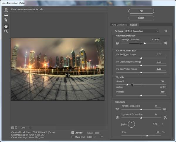 Lens Correction settings