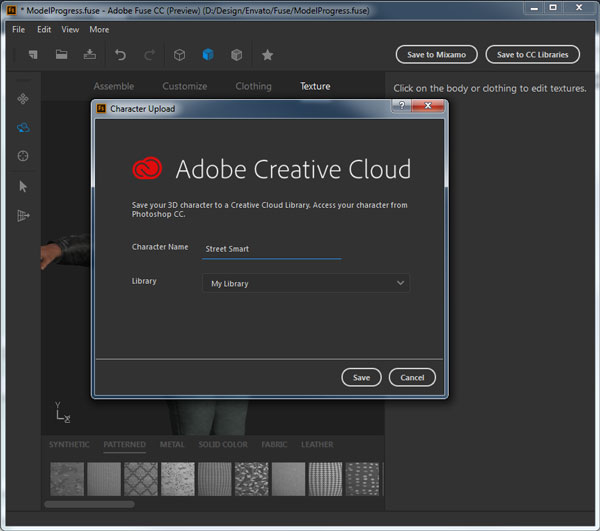Save the character to Adobe Creative Cloud