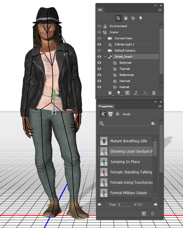 Select a pose or animation