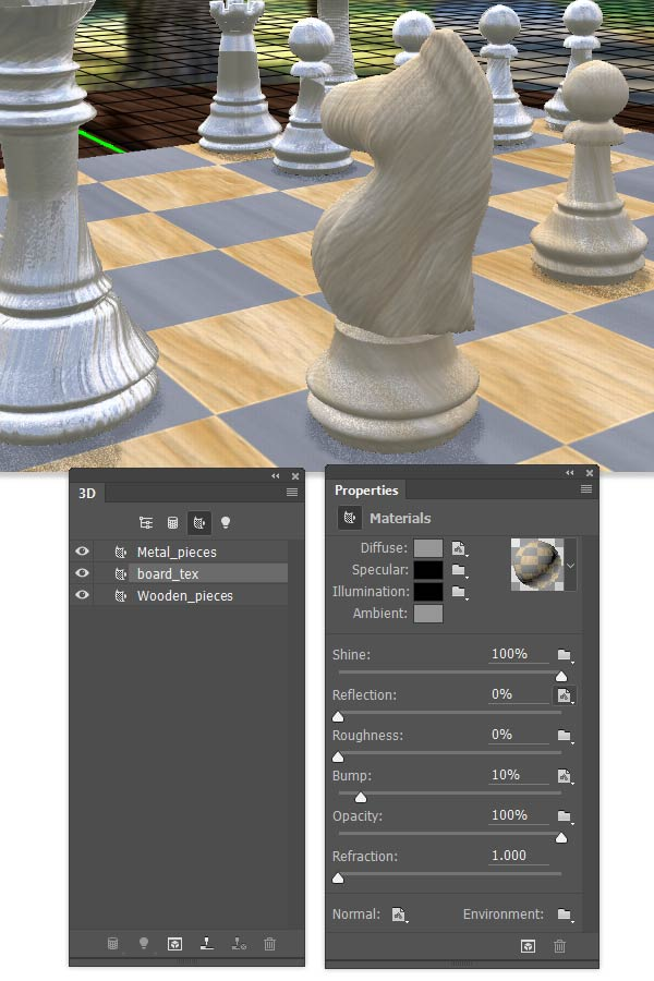 Add the Diffuse Bump Normal and Reflection maps for the checkerboard material
