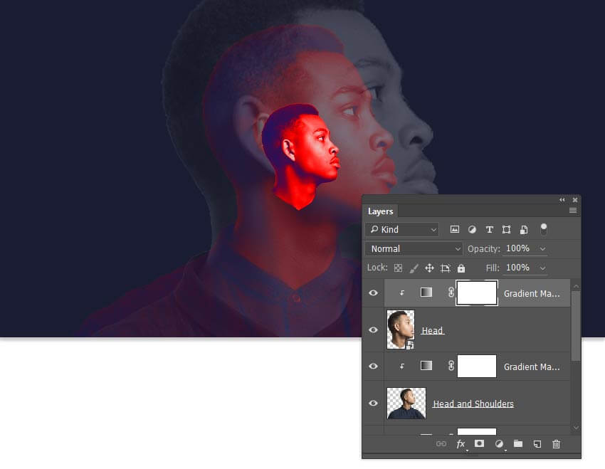 copy the gradient map adjustment layer to the head layer