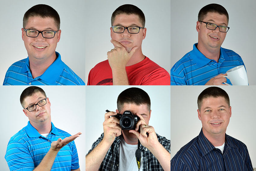 Create several fun profile image poses
