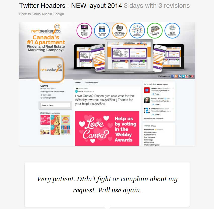 Twitter Headers - NEW layout 2014 by BannerDesignCo