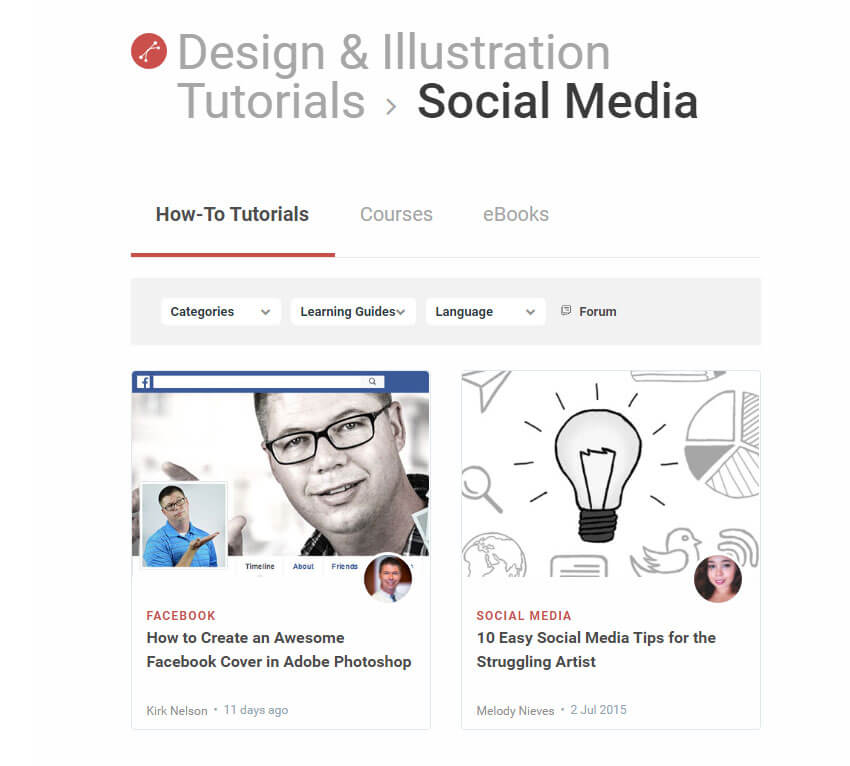 Free tutorials for Social Media design