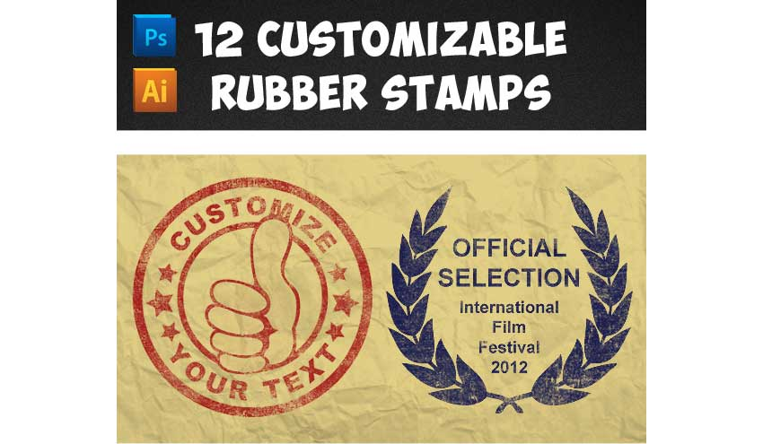 12 Customizable Rubber Stamps