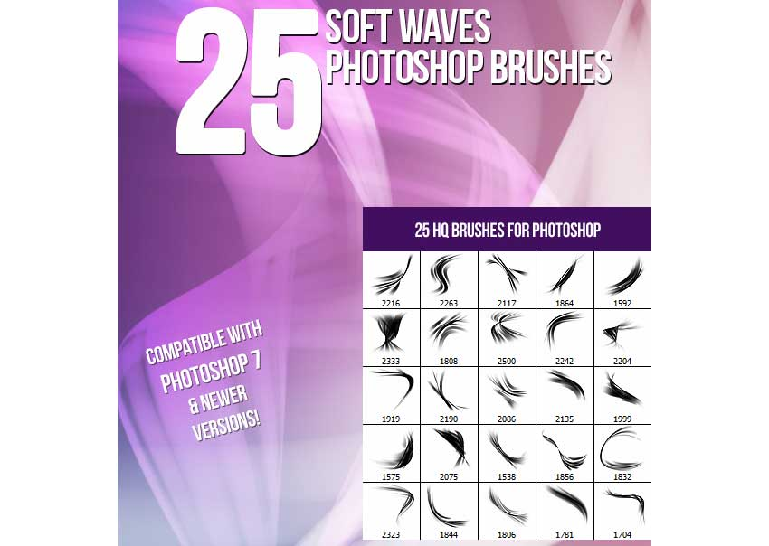 25 Soft Waves Photoshop Brushes