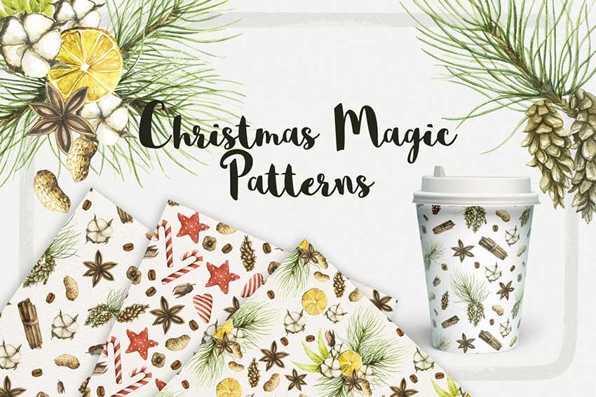 Watercolor Christmas Magic Patterns