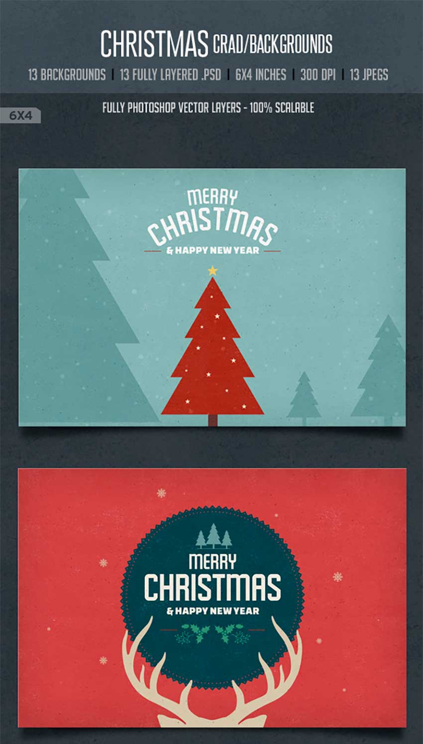 Vintage Christmas Card Backgrounds