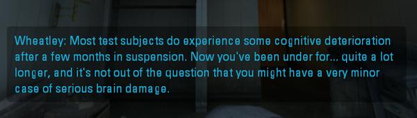 Wheatleys dialog in Portal 2