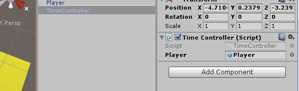Assign the player-object to the resulting slot on the TimeController