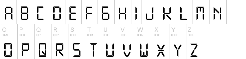 Digital Display Font Example