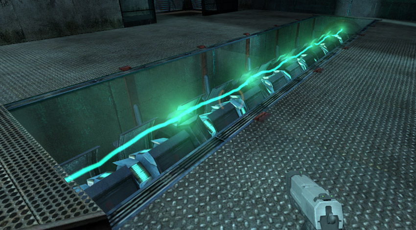 Full charge for a teleport in Half Life 2 The element is highly visible inside the otherwise sparsely decorated room
