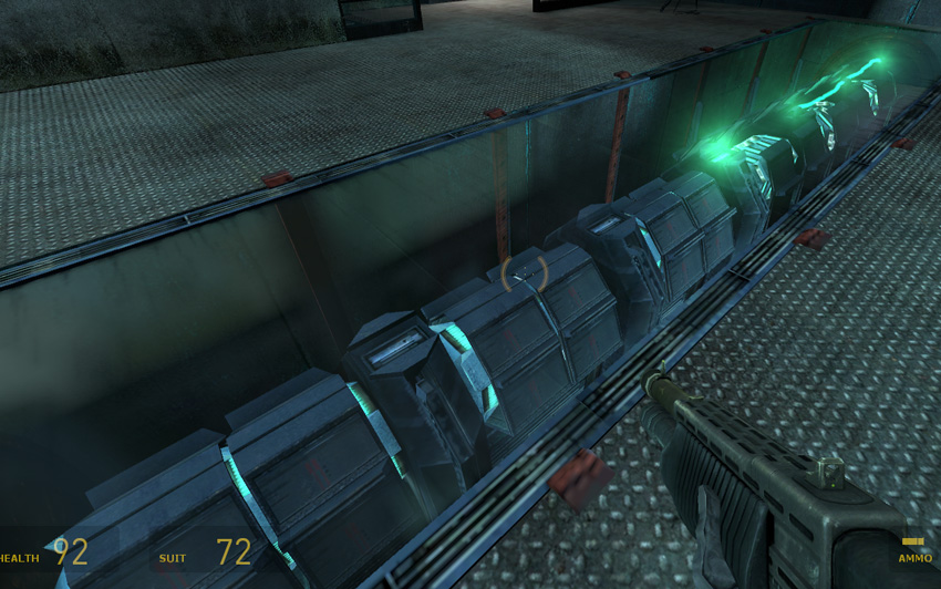After being used the teleport needs to recharge The elements slowly light up again giving the player an indication how much longer they have to hold out from Half-Life 2