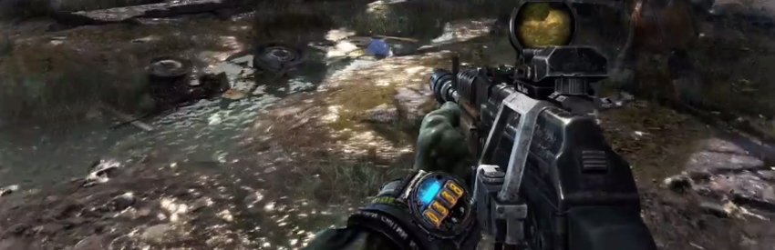 An oxygen-timer in Metro Last Light directly inside the gameworld