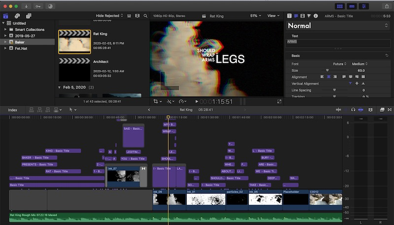 Lyric video being edited in Final Cut Pro