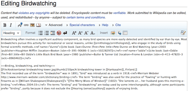 MediaWiki editor view
