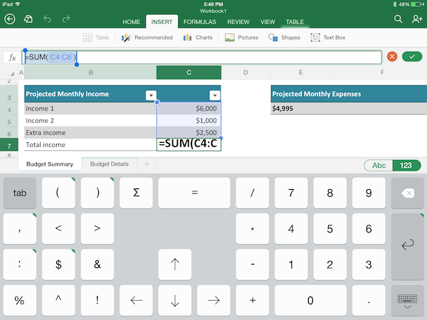 Excel for iPad keyboard