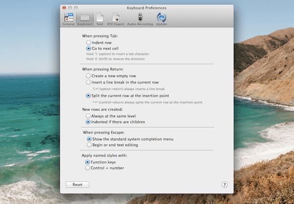 OmniOutliner keyboard shortcuts