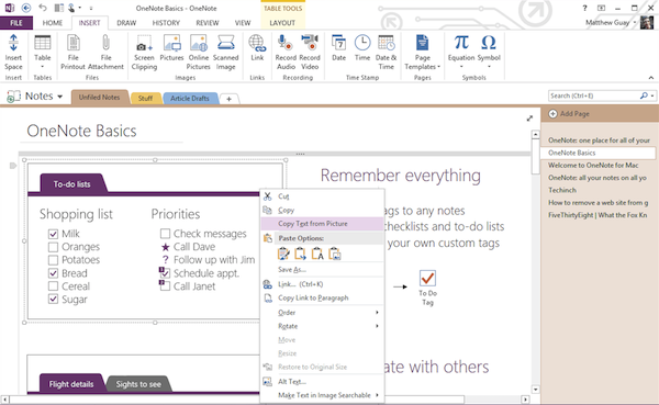 onenote section template