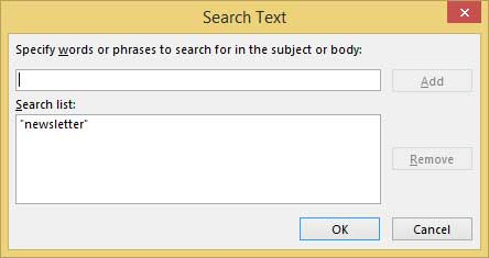 Outlook search text with rule