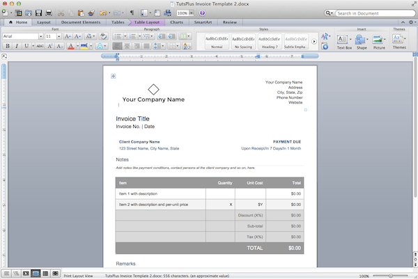 How to make professional invoices in a word processor for Making invoices on word
