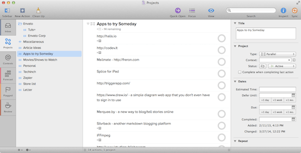 OmniFocus projects