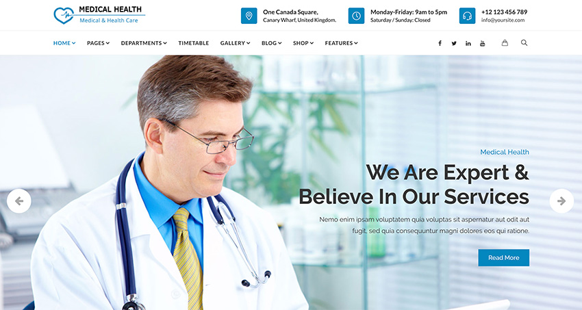 MedicalHealth - Doctor  Healthcare Clinic WordPress Theme