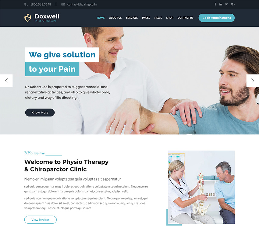 Doxwell  Physical Therapy WordPress Theme