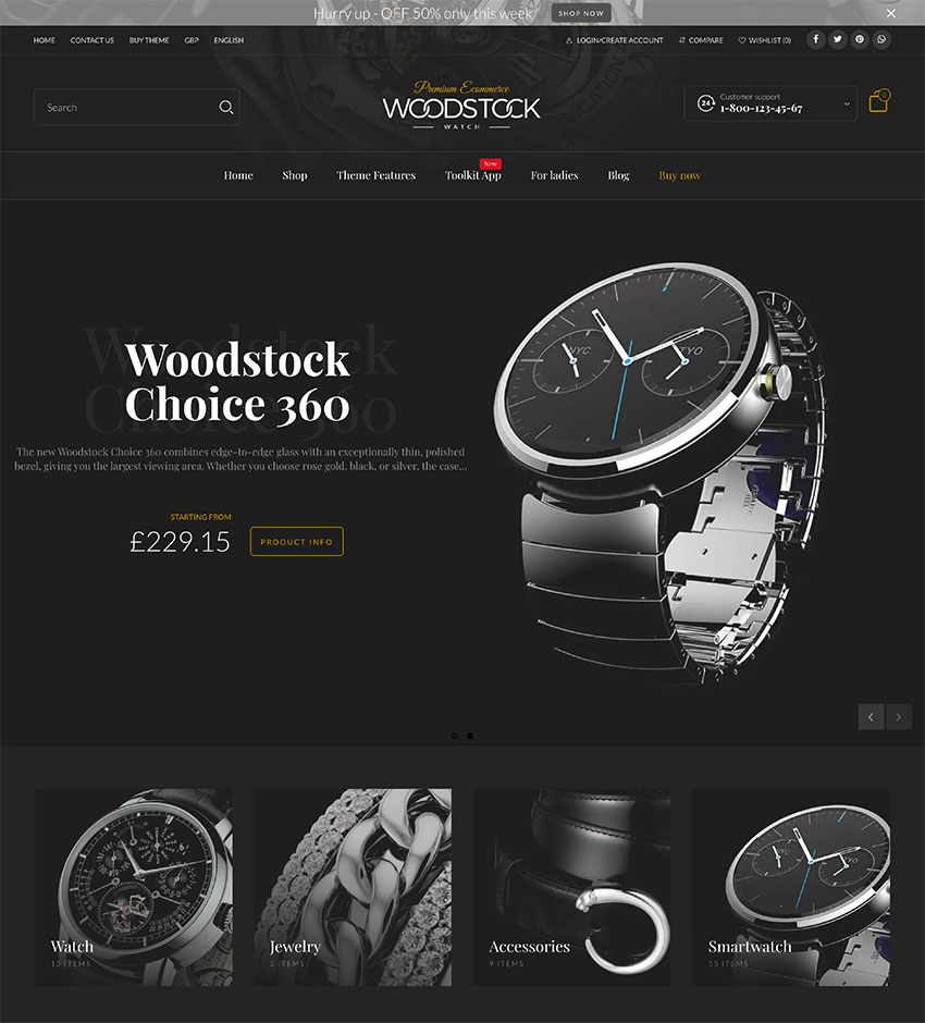 Woodstock - Fastest Shopify Sections Theme -Free Multilanguage App - PageSpeed 99100 - Multipurpose