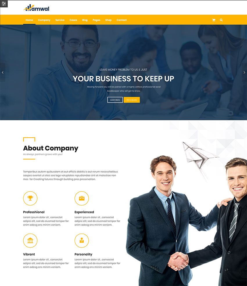 Amwal  Consulting Finance WordPress Theme