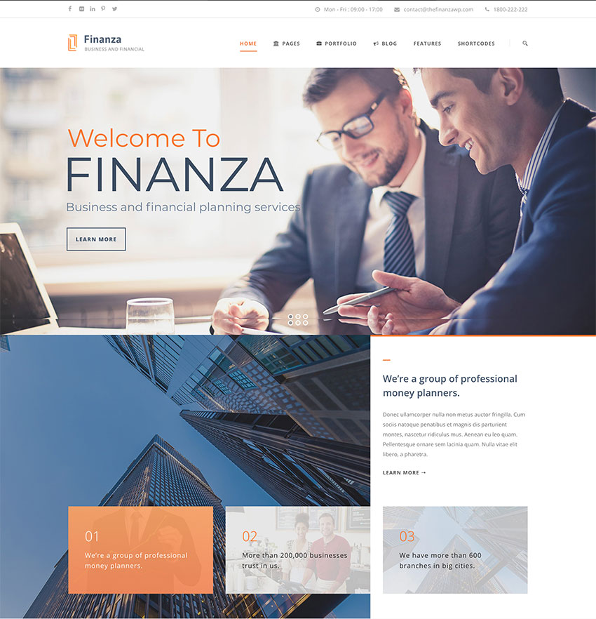 Finanza, tema de WordPress para negocios y asesora financiera