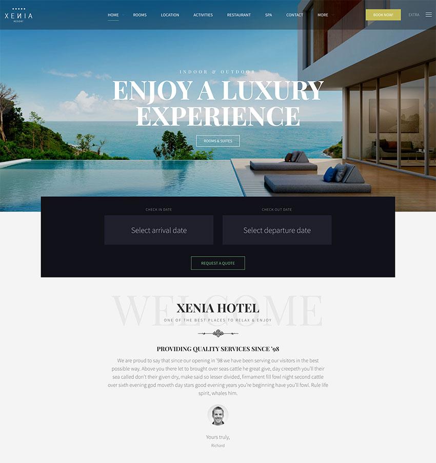 Hotel X - Resort Booking WordPress Theme